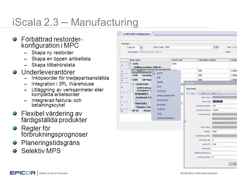iScala 2.3 – Manufacturing