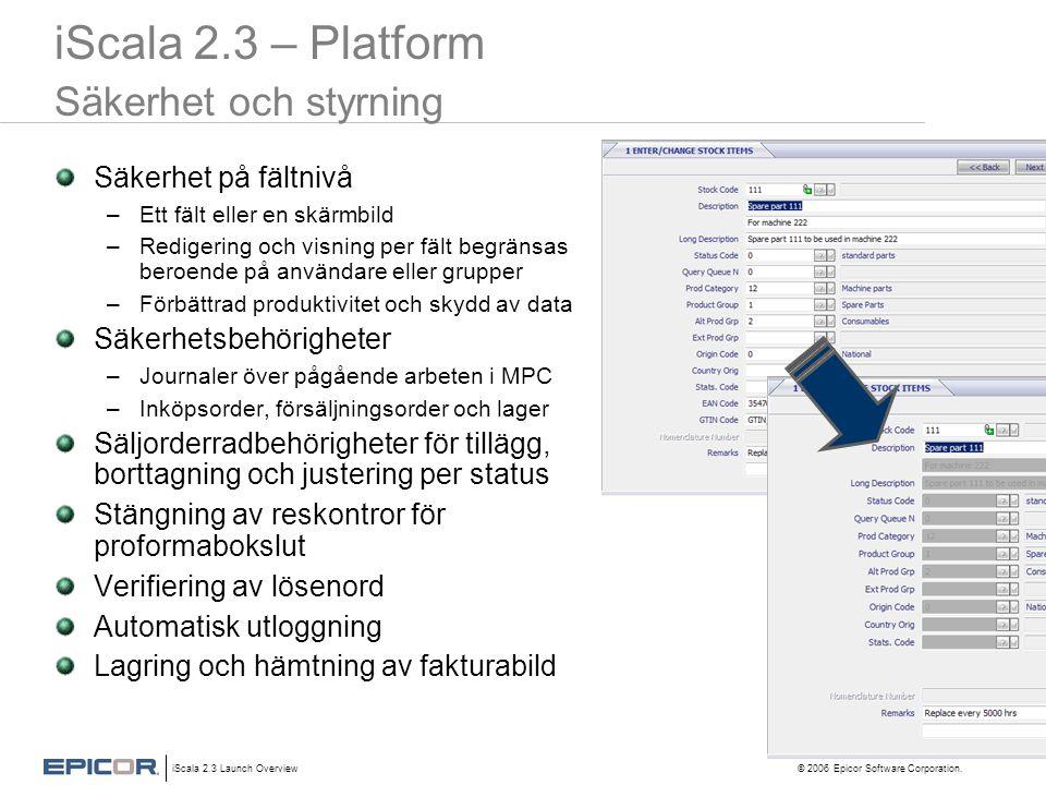 iScala 2.3 – Platform Säkerhet och styrning