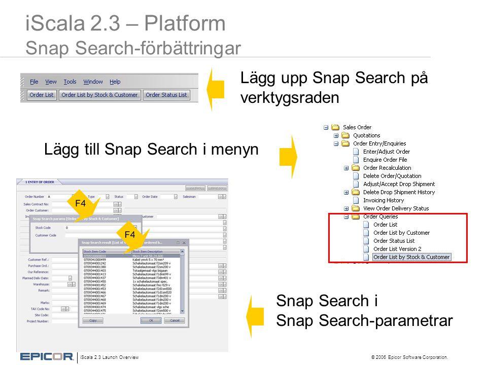 iScala 2.3 – Platform Snap Search-förbättringar