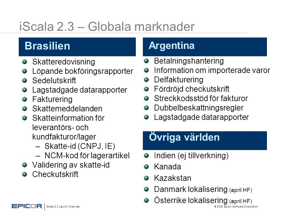 iScala 2.3 – Globala marknader