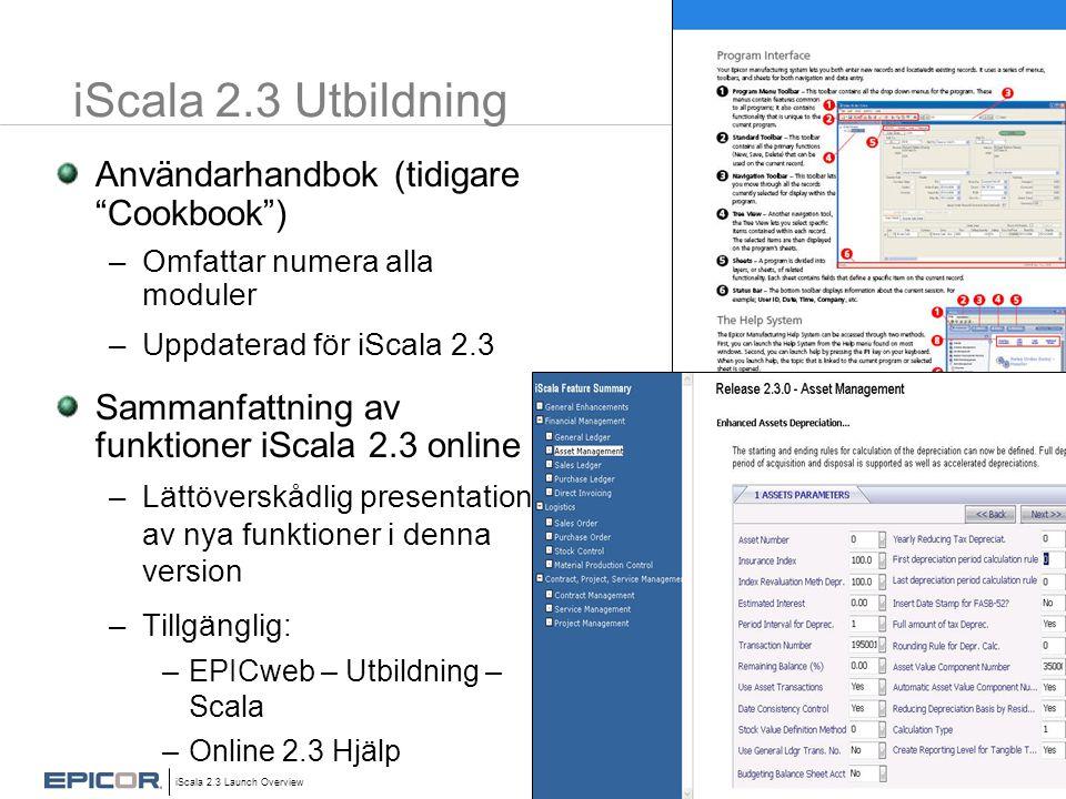 iScala 2.3 Utbildning Användarhandbok (tidigare Cookbook )