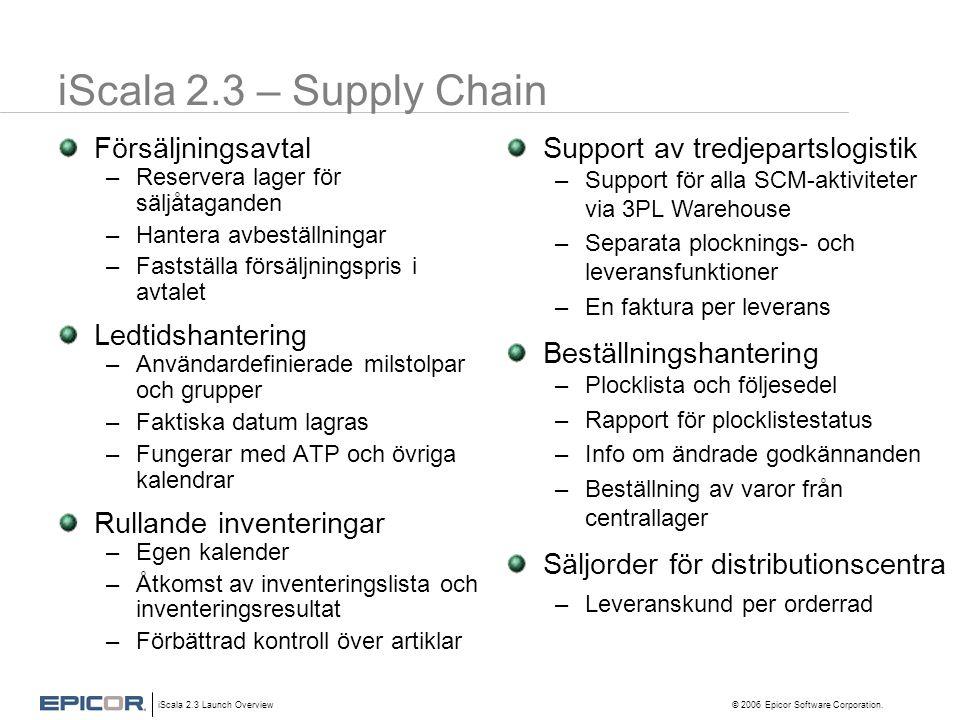 iScala 2.3 – Supply Chain Försäljningsavtal Ledtidshantering