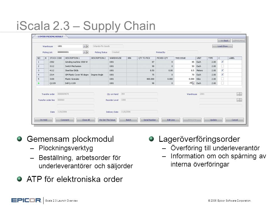 iScala 2.3 – Supply Chain Gemensam plockmodul