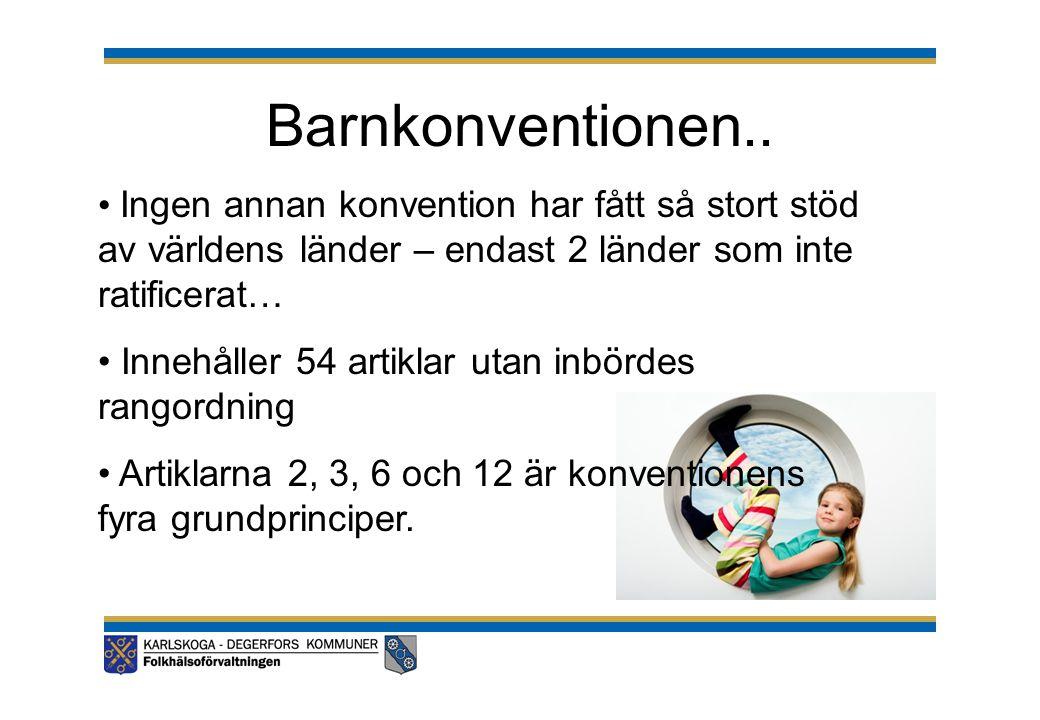 Barnkonventionen.. Ingen annan konvention har fått så stort stöd av världens länder – endast 2 länder som inte ratificerat…