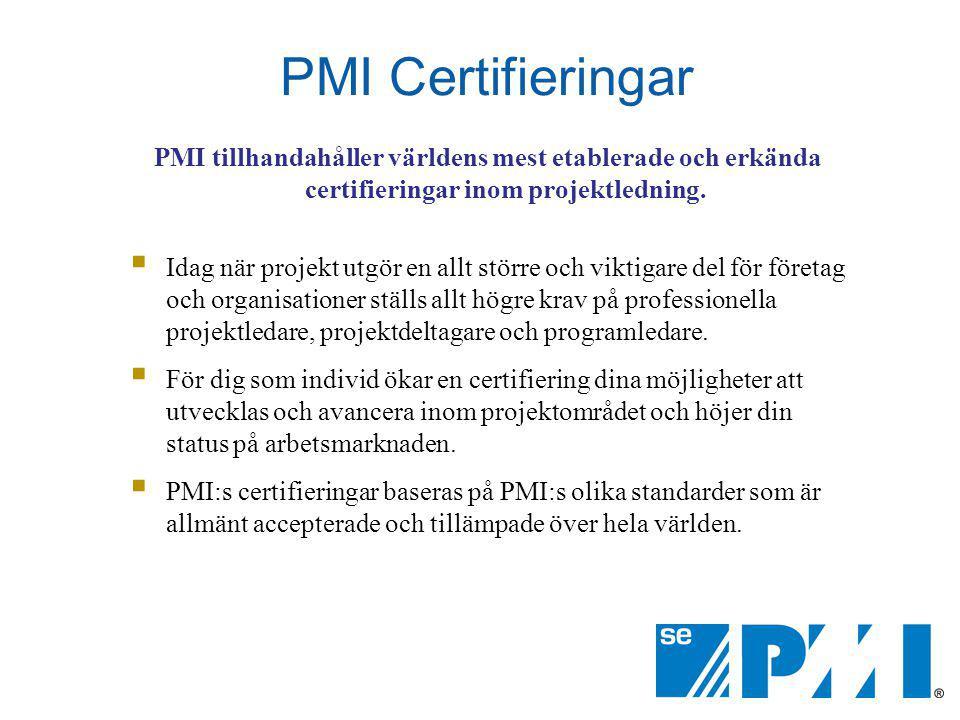 PMI Certifieringar PMI tillhandahåller världens mest etablerade och erkända certifieringar inom projektledning.
