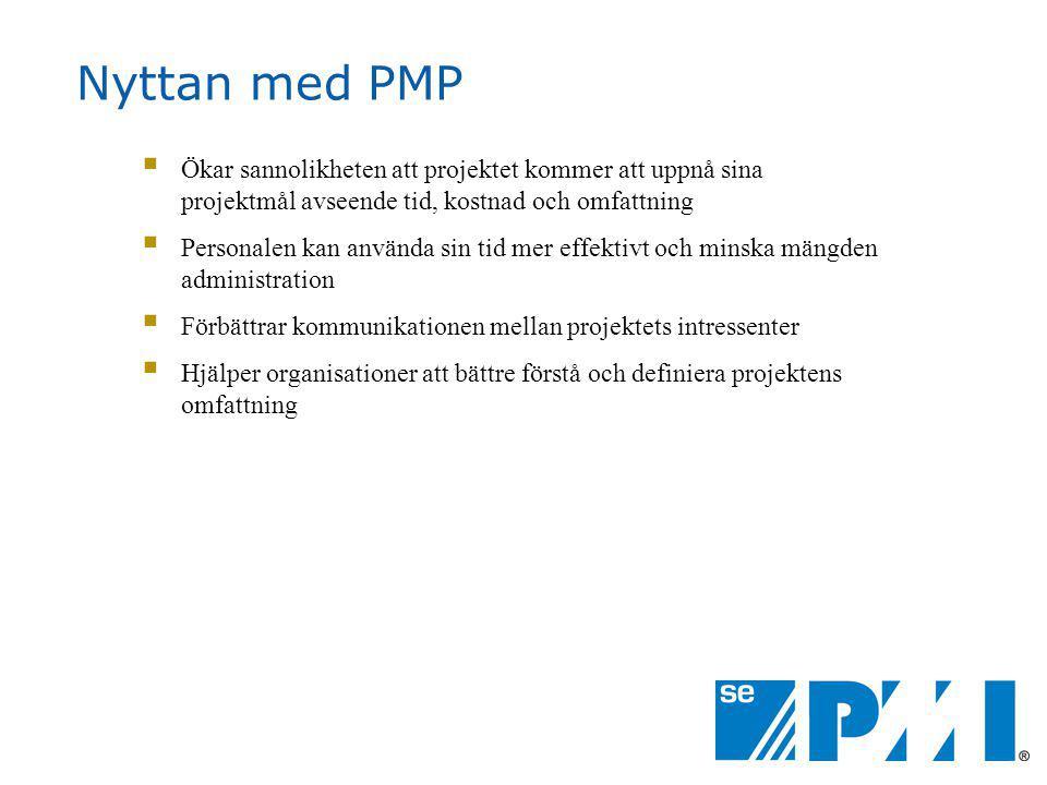 Nyttan med PMP Ökar sannolikheten att projektet kommer att uppnå sina projektmål avseende tid, kostnad och omfattning.