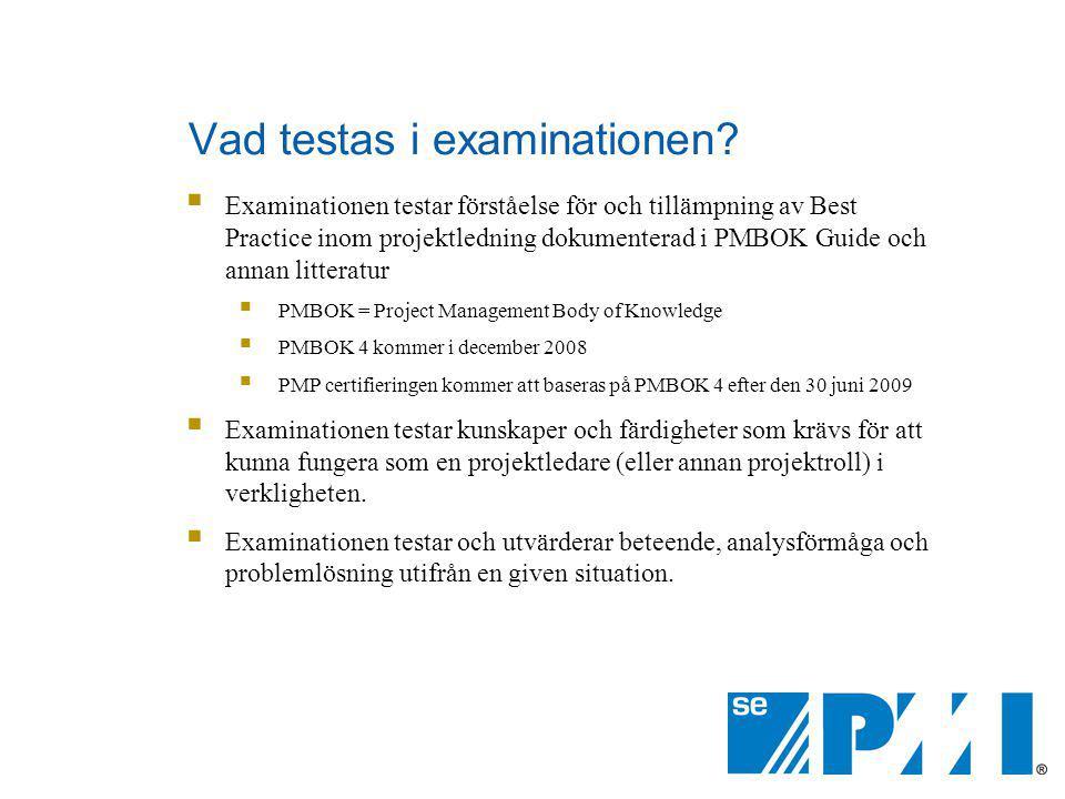 Vad testas i examinationen
