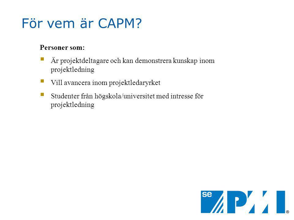 För vem är CAPM Personer som: