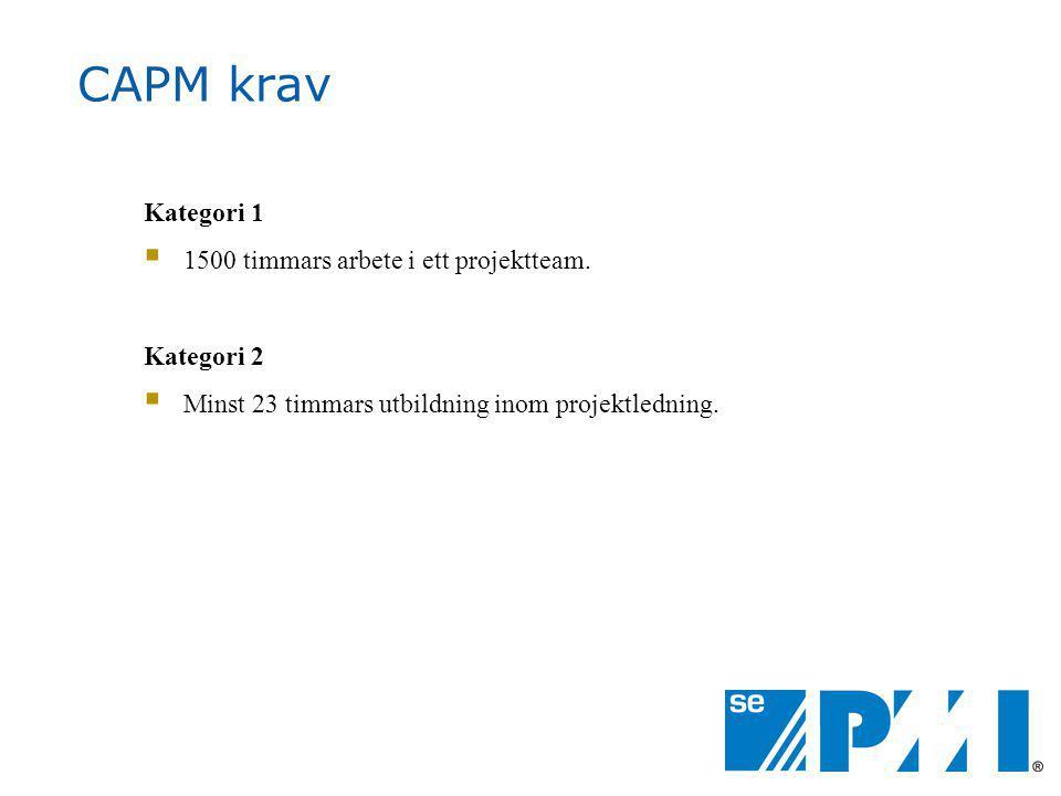 CAPM krav Kategori 1 1500 timmars arbete i ett projektteam. Kategori 2