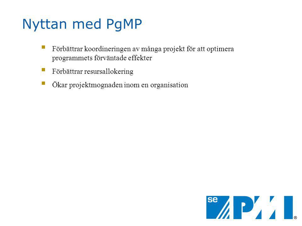 Nyttan med PgMP Förbättrar koordineringen av många projekt för att optimera programmets förväntade effekter.