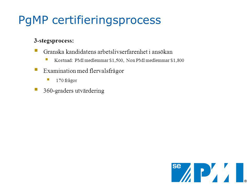PgMP certifieringsprocess