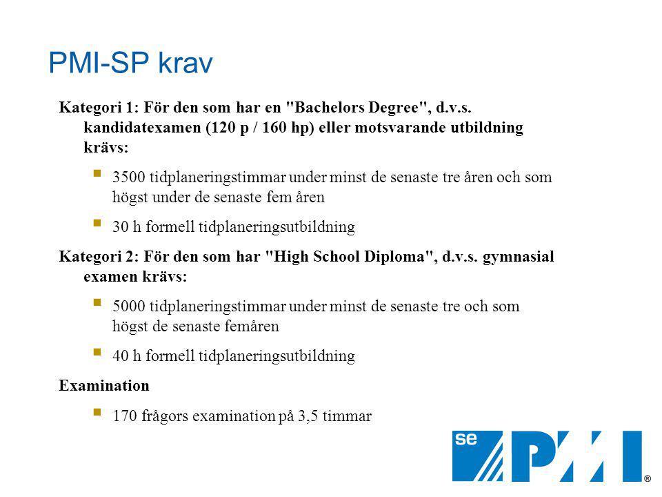 PMI-SP krav Kategori 1: För den som har en Bachelors Degree , d.v.s. kandidatexamen (120 p / 160 hp) eller motsvarande utbildning krävs: