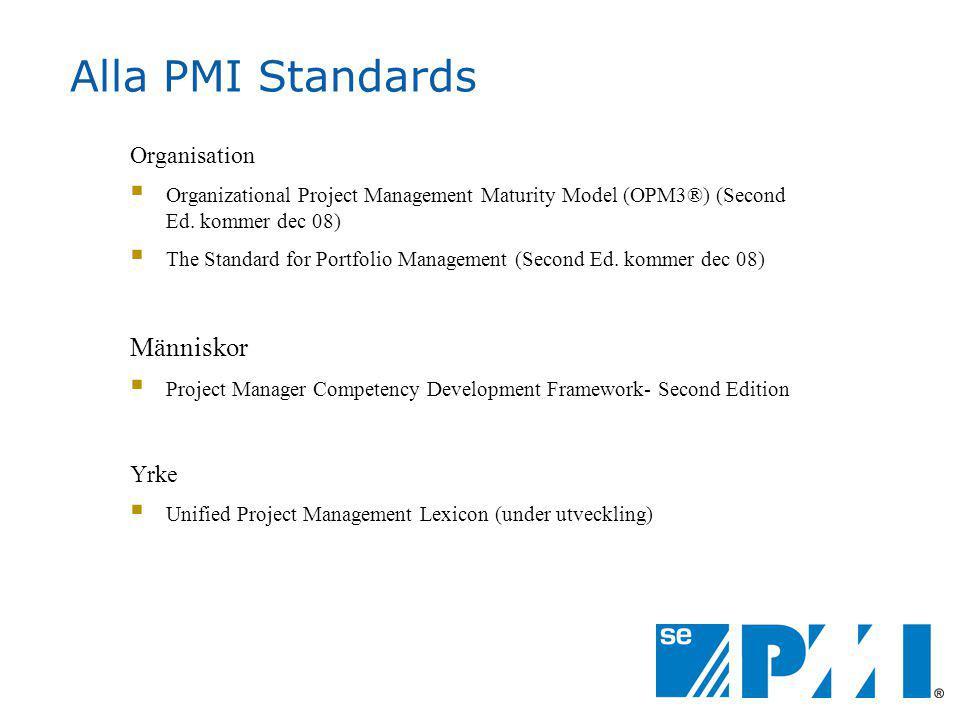 Alla PMI Standards Människor Organisation Yrke