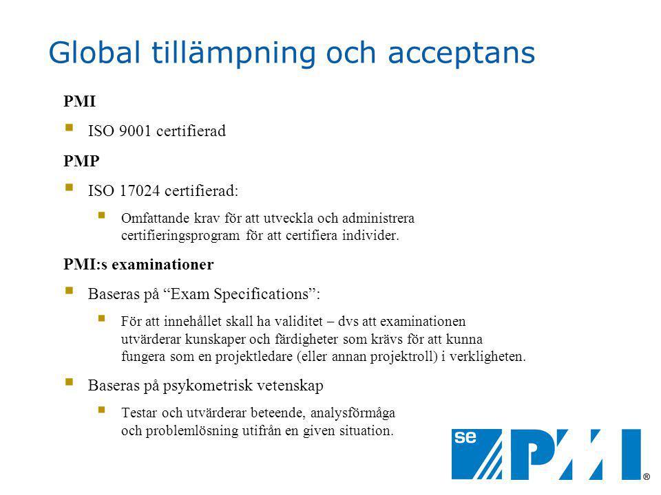 Global tillämpning och acceptans