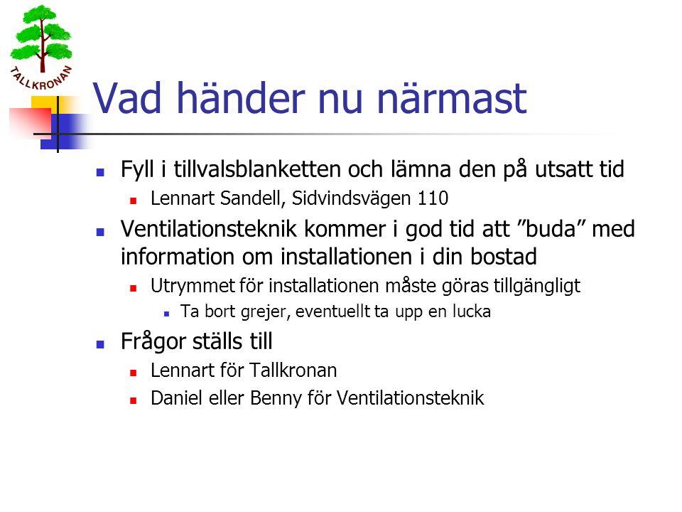 Vad händer nu närmast Fyll i tillvalsblanketten och lämna den på utsatt tid. Lennart Sandell, Sidvindsvägen 110.