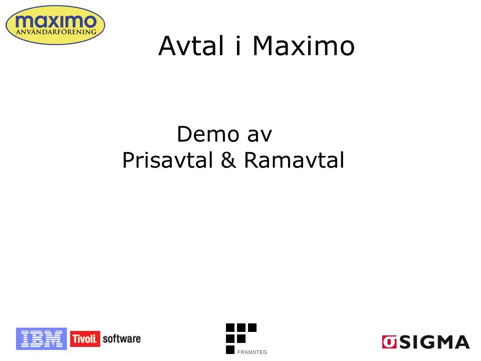 Demo av Prisavtal & Ramavtal