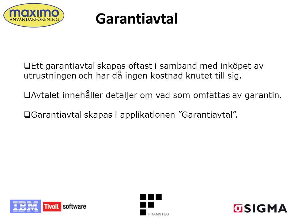 Garantiavtal Ett garantiavtal skapas oftast i samband med inköpet av utrustningen och har då ingen kostnad knutet till sig.