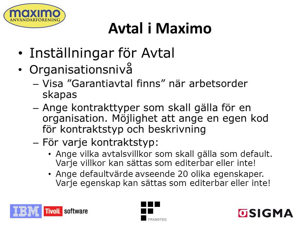 Avtal i Maximo Inställningar för Avtal Organisationsnivå