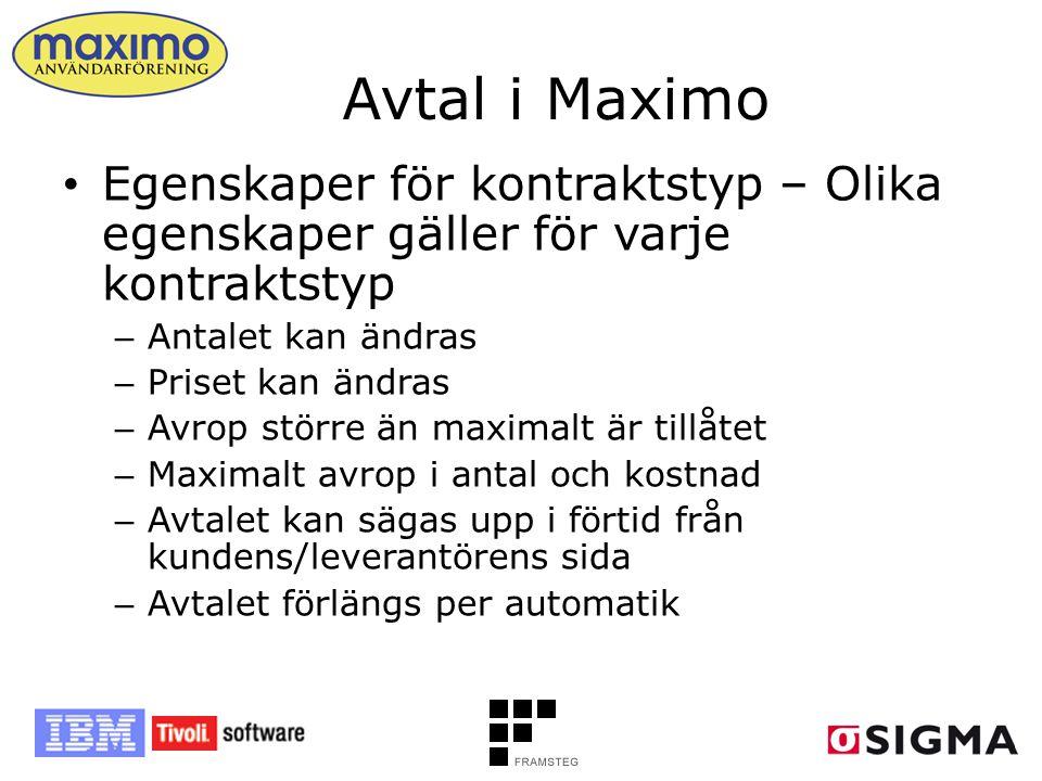 Avtal i Maximo Egenskaper för kontraktstyp – Olika egenskaper gäller för varje kontraktstyp. Antalet kan ändras.