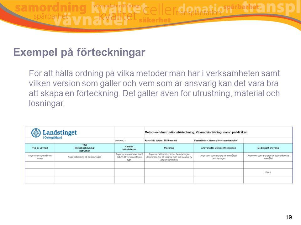 Exempel på förteckningar