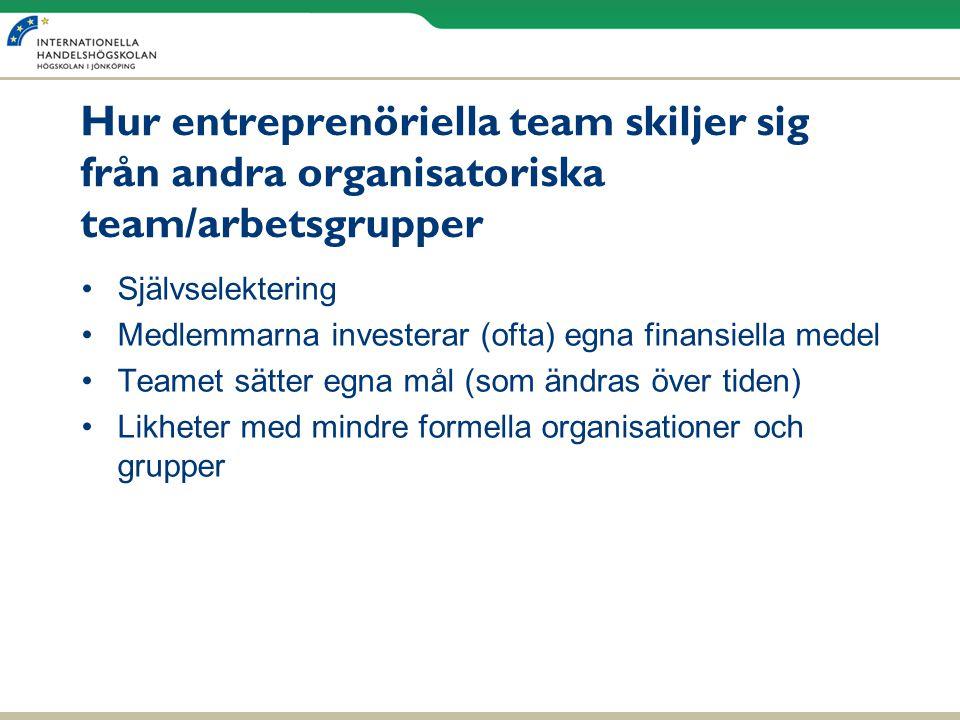 Hur entreprenöriella team skiljer sig från andra organisatoriska team/arbetsgrupper