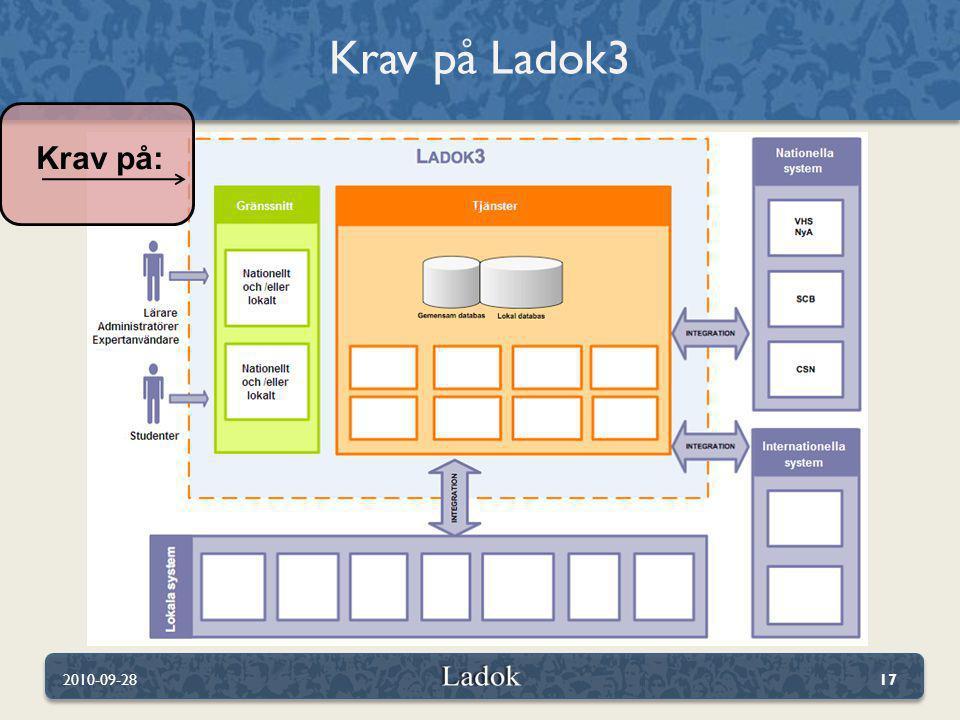 Krav på Ladok3 Krav på: 2010-09-28
