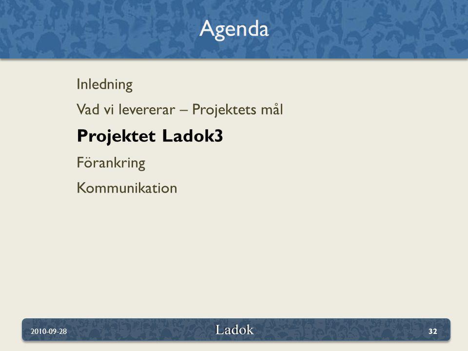 Agenda Projektet Ladok3 Inledning Vad vi levererar – Projektets mål
