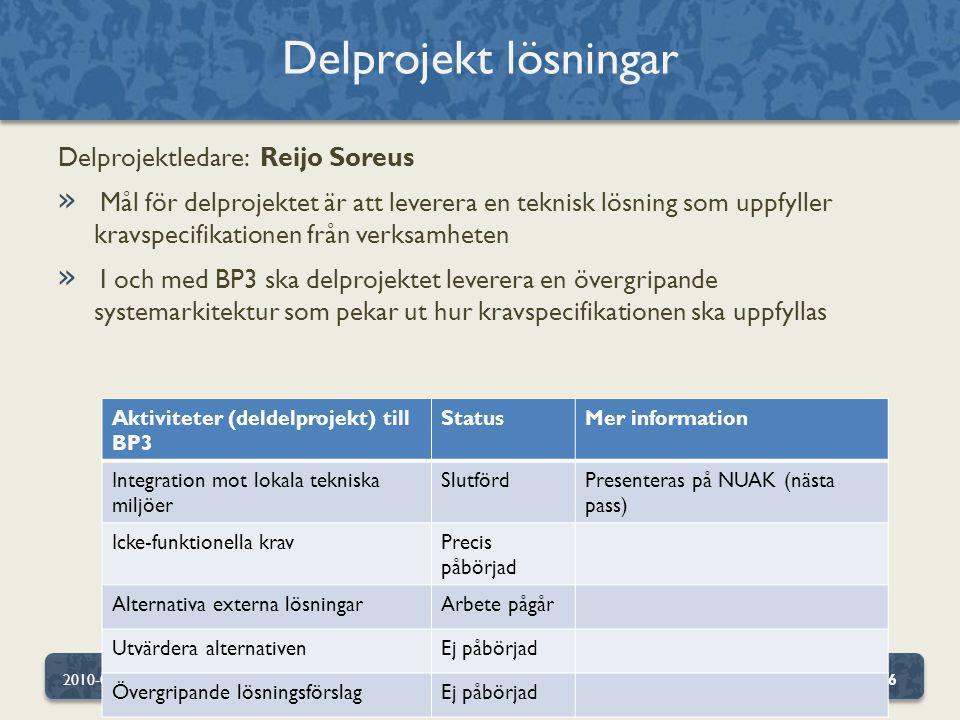 Delprojekt lösningar Delprojektledare: Reijo Soreus