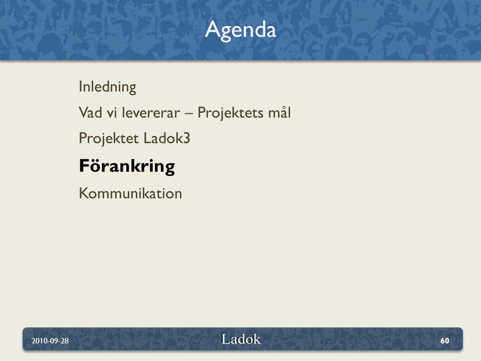 Agenda Förankring Inledning Vad vi levererar – Projektets mål
