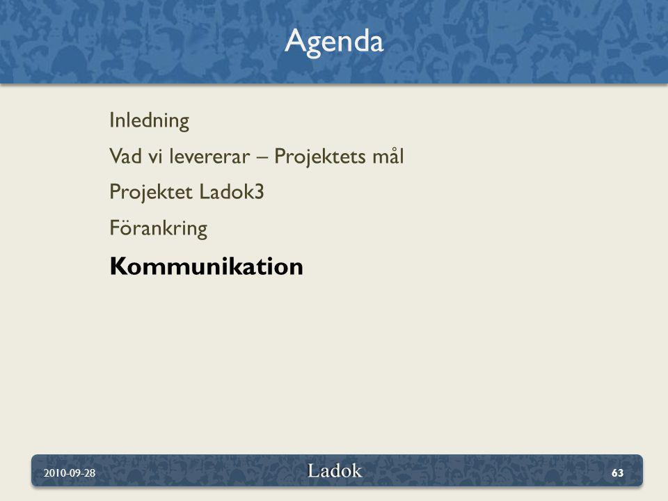 Agenda Kommunikation Inledning Vad vi levererar – Projektets mål