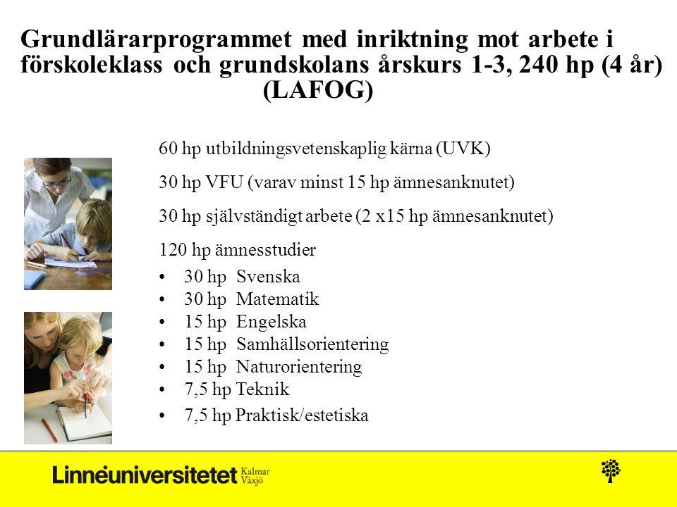 Grundlärarprogrammet med inriktning mot arbete i förskoleklass och grundskolans årskurs 1-3, 240 hp (4 år) (LAFOG)