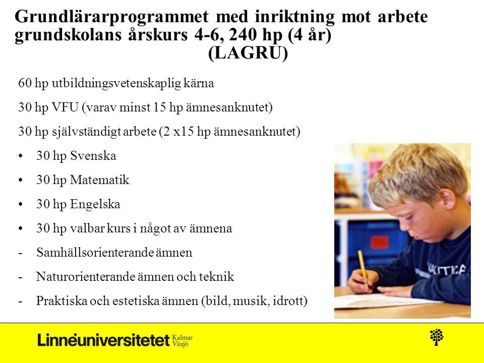 Grundlärarprogrammet med inriktning mot arbete grundskolans årskurs 4-6, 240 hp (4 år) (LAGRU)