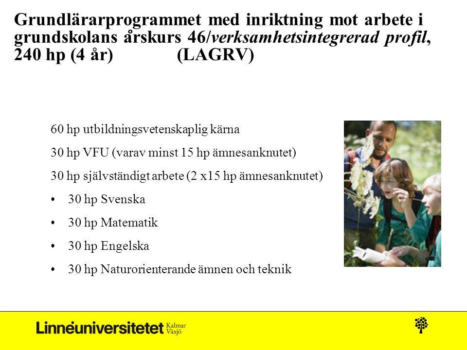 Grundlärarprogrammet med inriktning mot arbete i grundskolans årskurs 46/verksamhetsintegrerad profil, 240 hp (4 år) (LAGRV)
