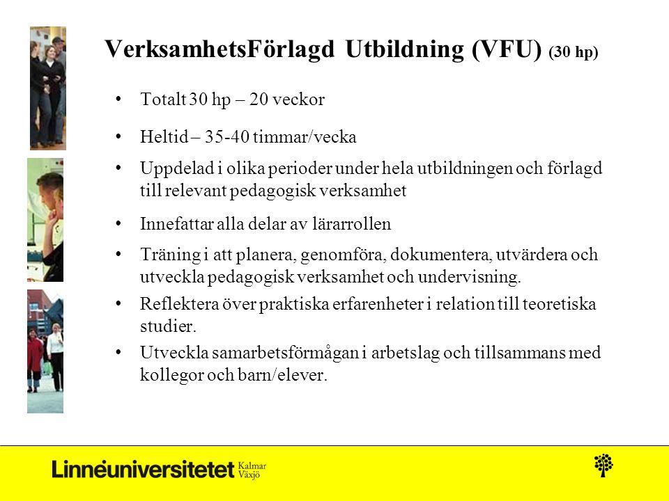 VerksamhetsFörlagd Utbildning (VFU) (30 hp)