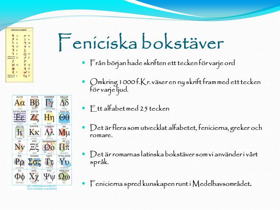 Feniciska bokstäver Från början hade skriften ett tecken för varje ord