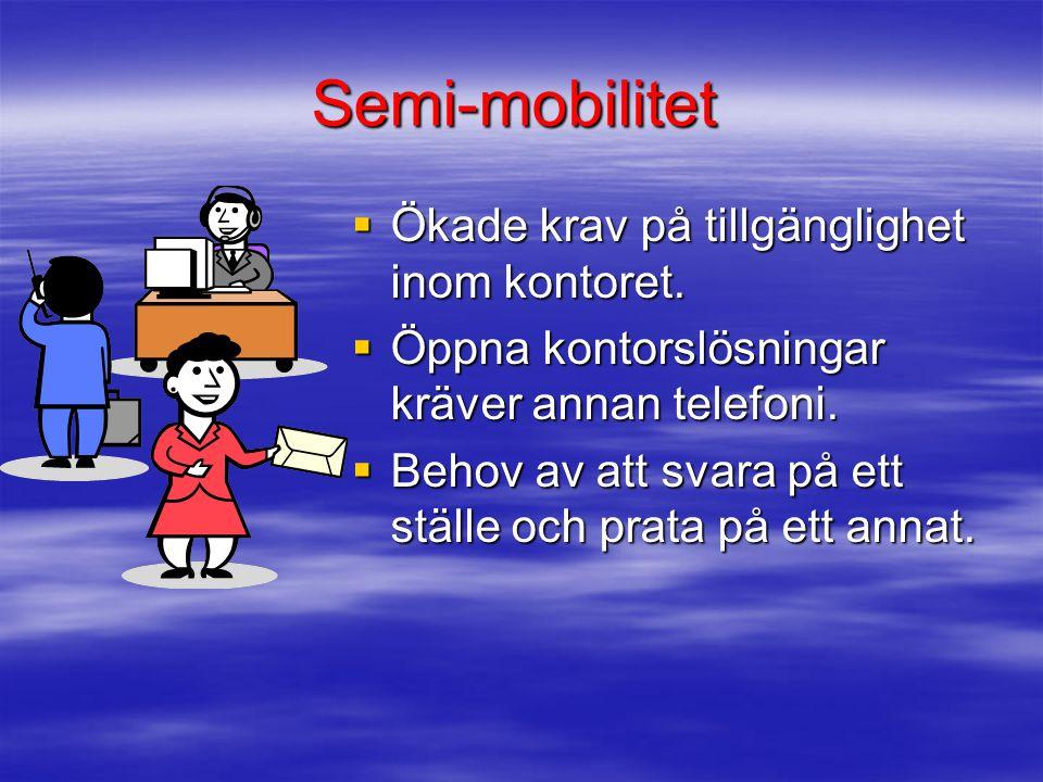 Semi-mobilitet Ökade krav på tillgänglighet inom kontoret.
