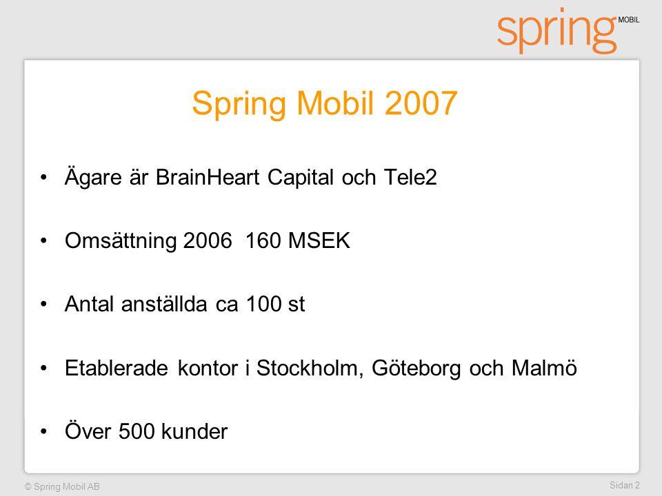 Spring Mobil 2007 Ägare är BrainHeart Capital och Tele2