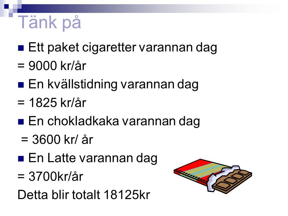 Tänk på Ett paket cigaretter varannan dag = 9000 kr/år