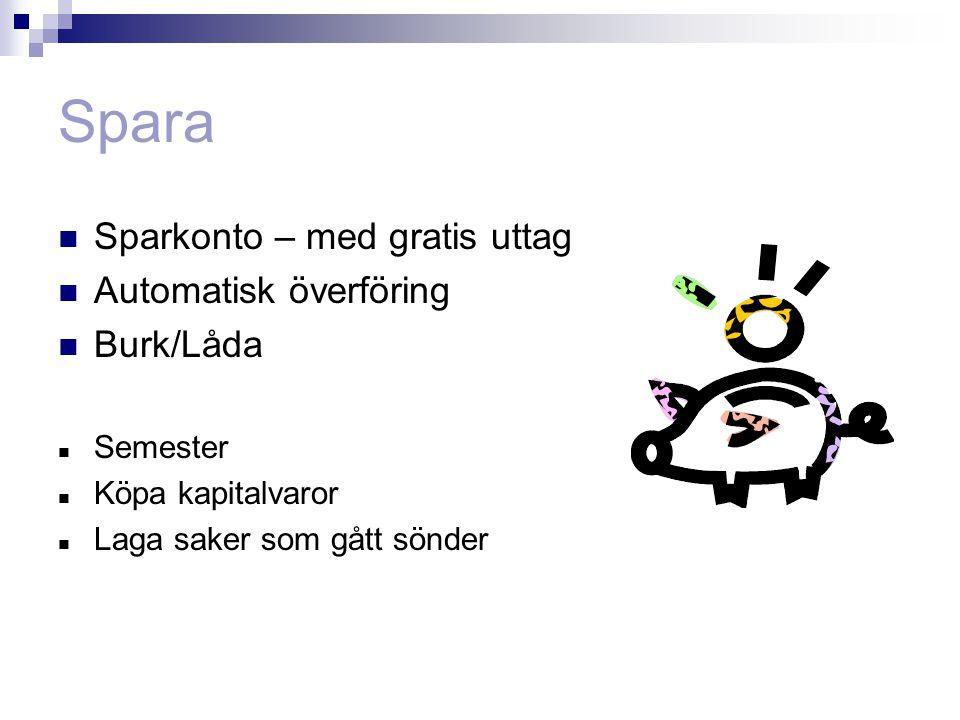 Spara Sparkonto – med gratis uttag Automatisk överföring Burk/Låda