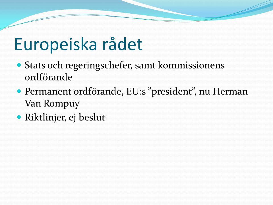 Europeiska rådet Stats och regeringschefer, samt kommissionens ordförande. Permanent ordförande, EU:s president , nu Herman Van Rompuy.