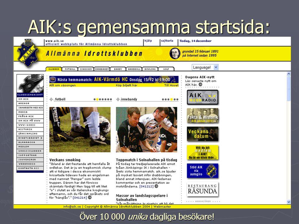 AIK:s gemensamma startsida: