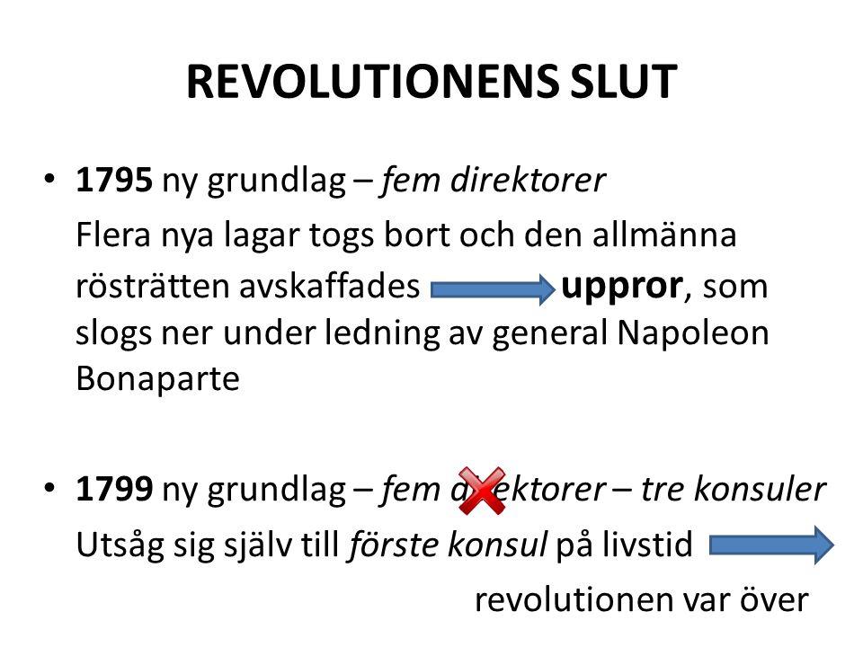 REVOLUTIONENS SLUT 1795 ny grundlag – fem direktorer