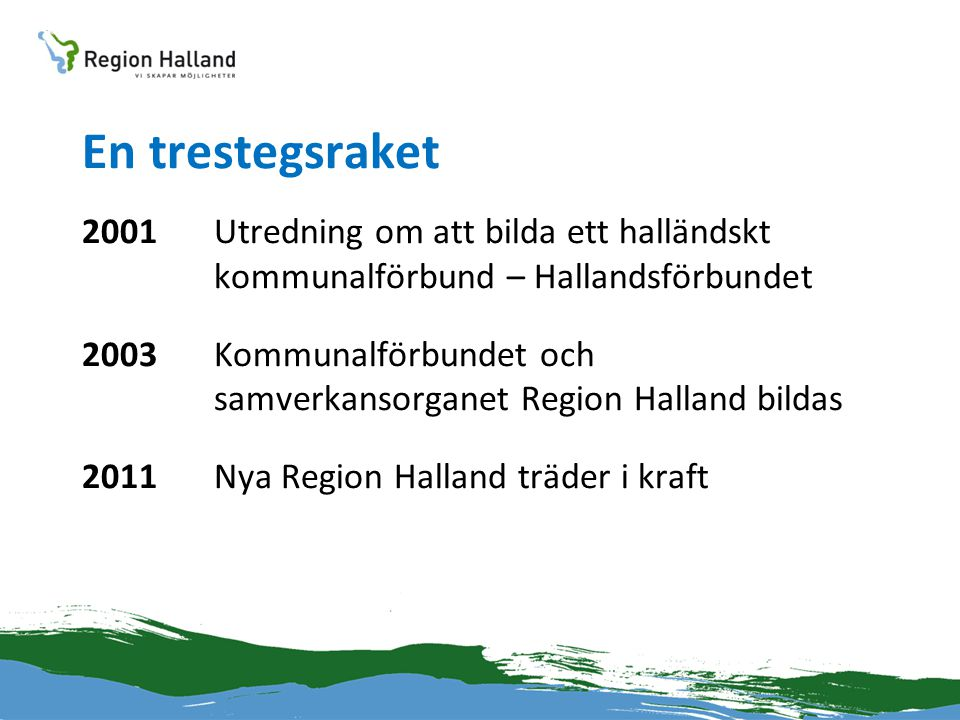 En trestegsraket 2001 Utredning om att bilda ett halländskt kommunalförbund – Hallandsförbundet.