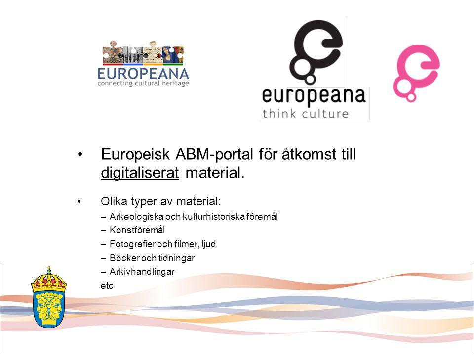 Europeisk ABM-portal för åtkomst till digitaliserat material.