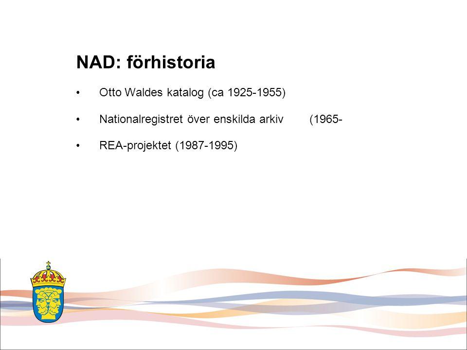 NAD: förhistoria Otto Waldes katalog (ca 1925-1955)