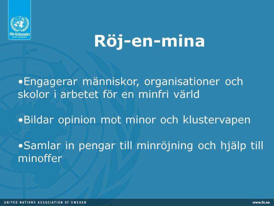 Röj-en-mina Engagerar människor, organisationer och skolor i arbetet för en minfri värld. Bildar opinion mot minor och klustervapen.