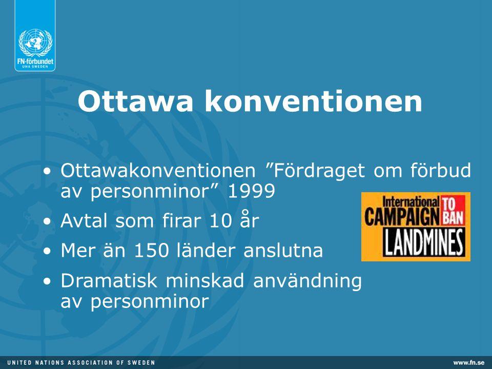 Ottawa konventionen Ottawakonventionen Fördraget om förbud av personminor 1999. Avtal som firar 10 år.