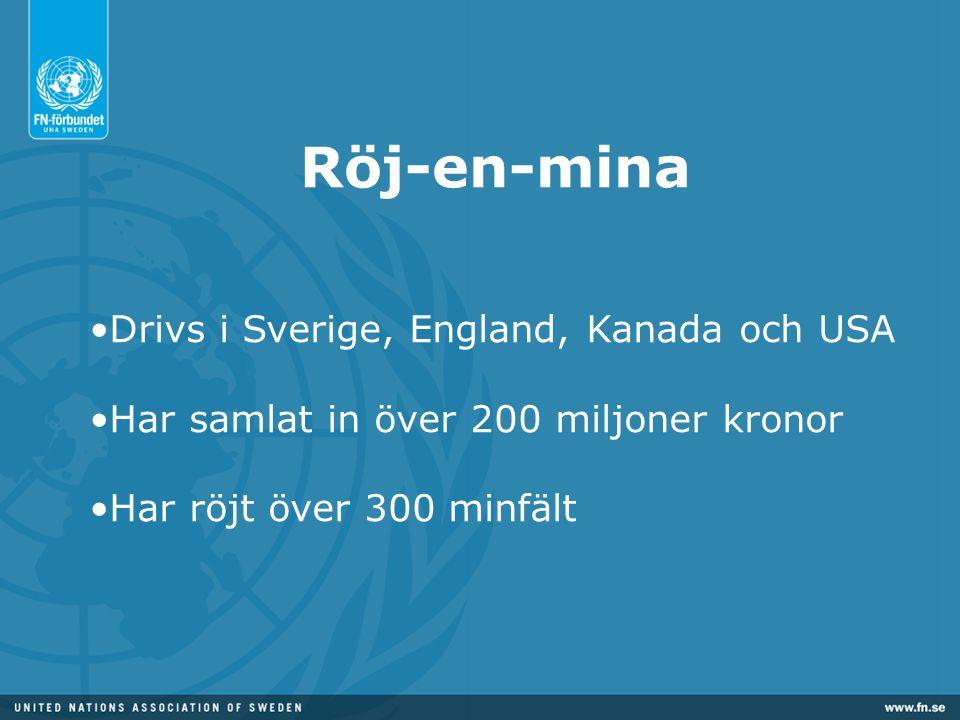 Röj-en-mina Drivs i Sverige, England, Kanada och USA