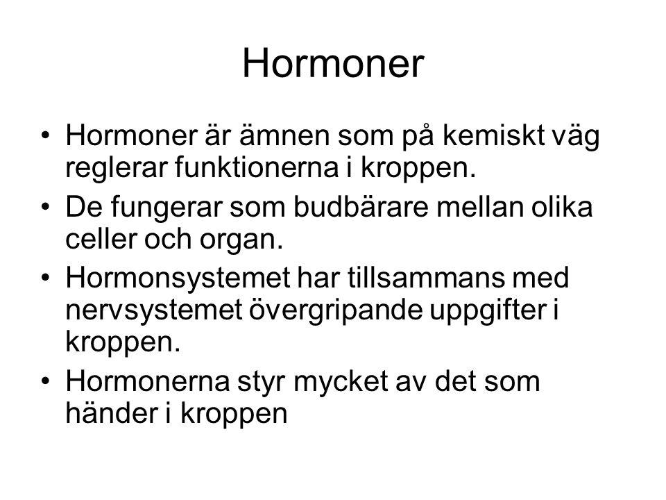 Hormoner Hormoner är ämnen som på kemiskt väg reglerar funktionerna i kroppen. De fungerar som budbärare mellan olika celler och organ.