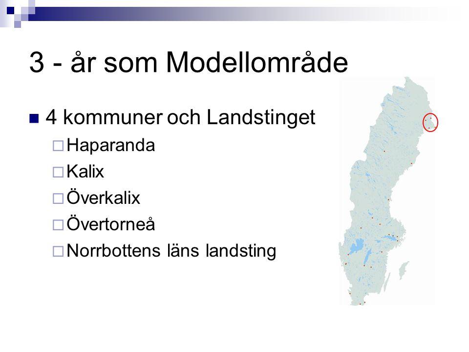 3 - år som Modellområde 4 kommuner och Landstinget Haparanda Kalix